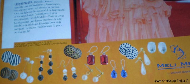 Colectia de cercei Meli Melo Paris ce este cadou in revista Diva, in  numarul din 9 Februarie.
