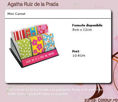 Mini carnet Agatha Ruiz de la Prada, cadou la revista The One in Februarie 2009