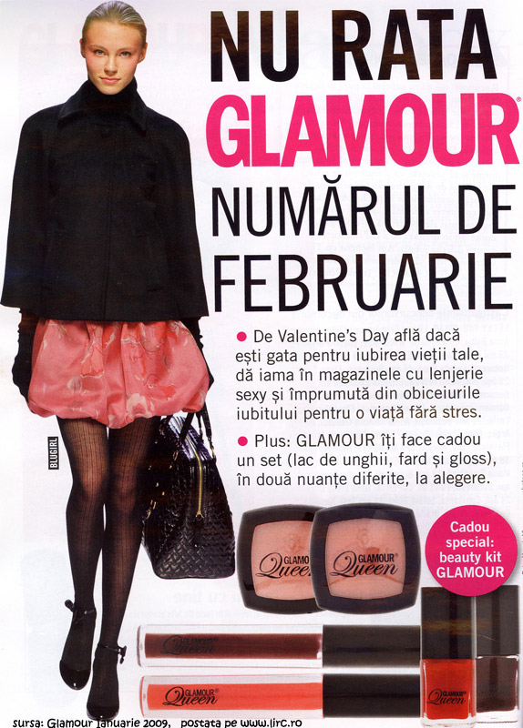 Glamour Romania :: Februarie 2009 :: Set Glamour Queen = lac de unghii + fard de obraz (blush)+ gloss de buze
