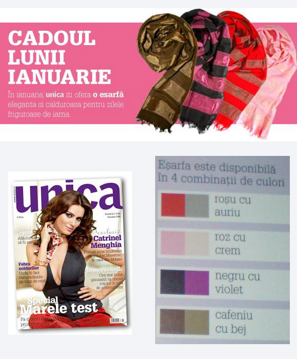 Unica :: Ianuarie 2009 :: Catrinel Menghia :: Esarfa eleganta si calduroasa