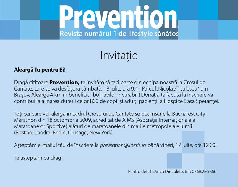 Prevention :: Invitatie la Crosul de Caritate :: Brasov :: 18 Iulie 2009