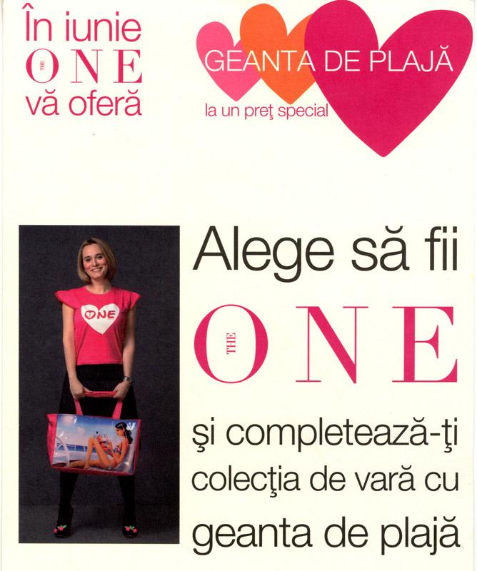 """Promo The One :: Geanta de vara cu imprimeu \""""Fata citind revista\"""" :: Iunie 2009"""