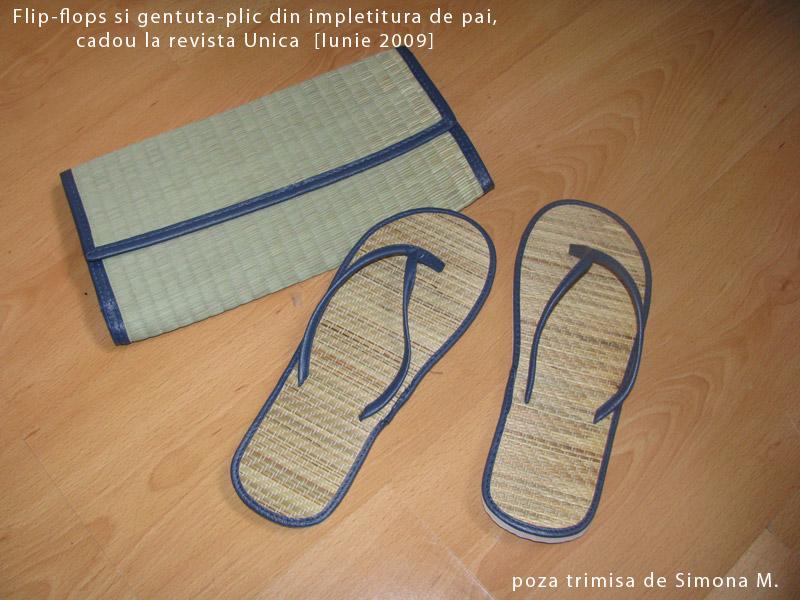 Unica :: Cadoul format din flip-flops si gentuta-plic din impletitura de pai :: Iunie 2009