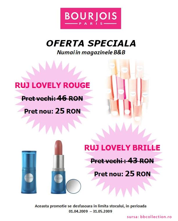 Oferta B&B pentru rujurile Bourjois Lovely Rouge si Bourjois Lovely Brille