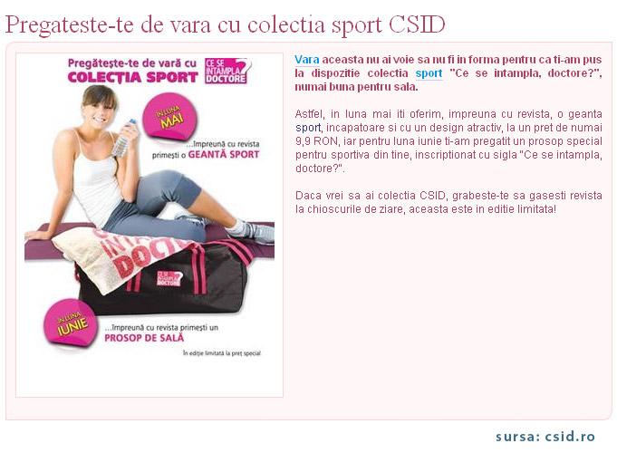 Promo ::  CSID :: Geanta sport cu logo-ul Ce se intampla, Doctore? :: Mai 2009