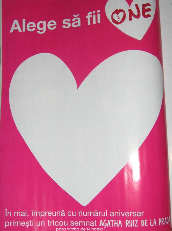 Promo The One pentru cadoul lunii Mai: Tricou roz The One by Agatha Ruiz de la Prada