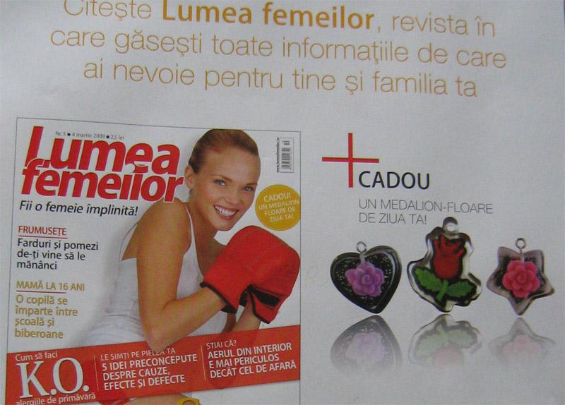 Lumea Femeilor :: Cadou Medalion-Floare, 3 modele :: 4 Martie 2009