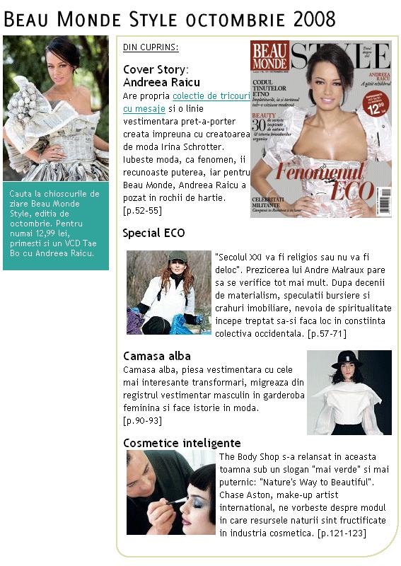 Promo revista Beau Monde Style, Octombrie 2008