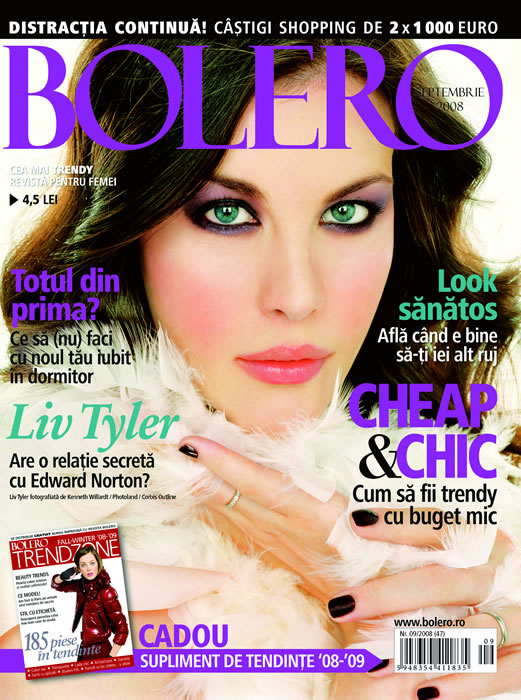 Coperta revistei Bolero, Septembrie 2008