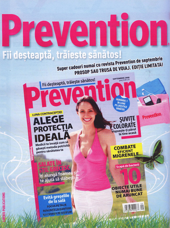 Coperta revistei Prevention, Septembrie 2008