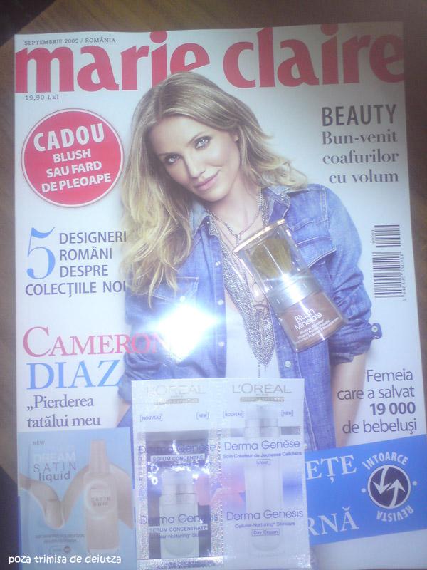 Marie Claire Romania :: Cameron Diaz :: Cadou L´Oreal Paris Blush Minerals si mostre :: Septembrie 2009