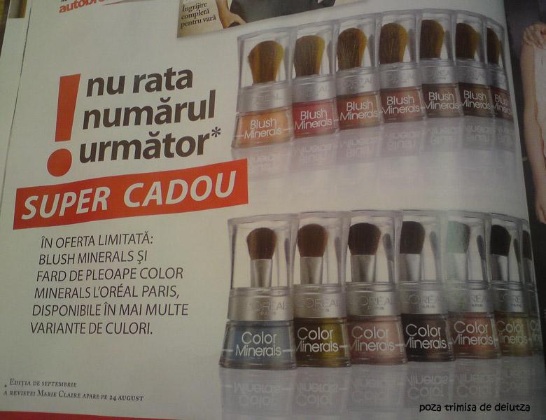 Marie Claire :: Promo cadou L\'Oreal Paris Blush Minerals si Color Minerals :: Septembrie 2009