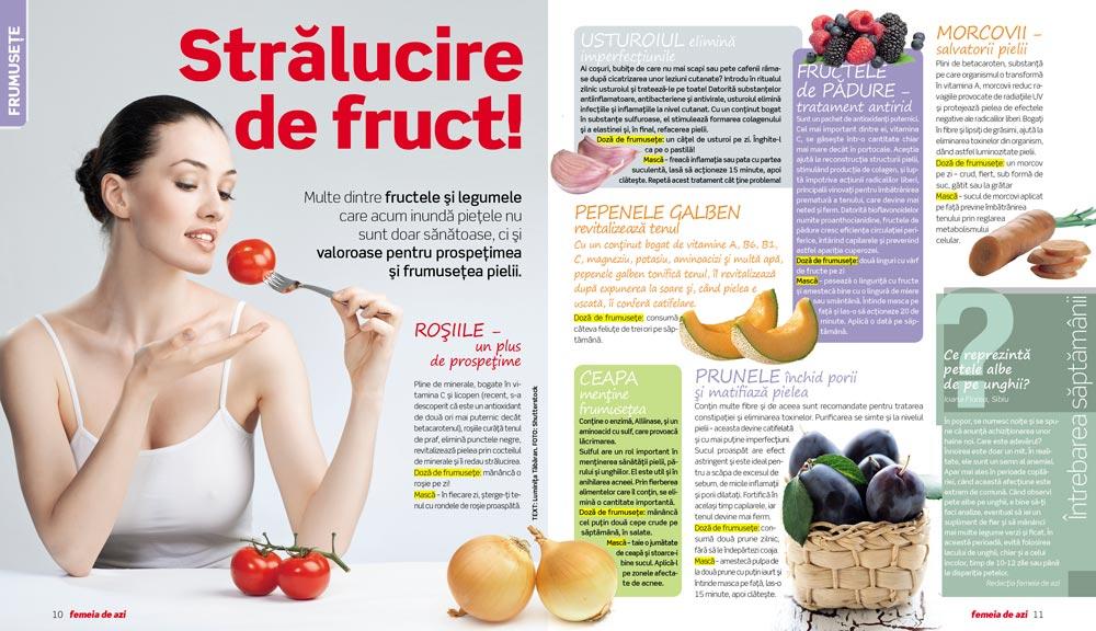Femeia de azi ~~ Stralucire de fruct! ~~ Masti cu fructe pentru ten ~~ 27 August 2010