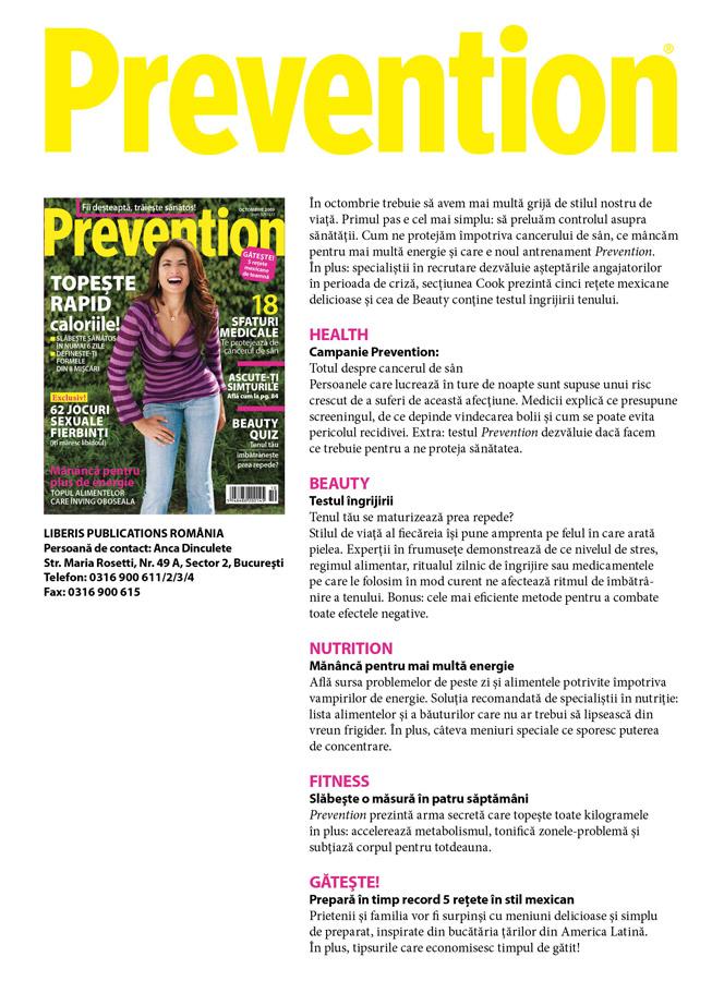 Prevention Romania ~~ Cuprinsul editiei de Octombrie 2009