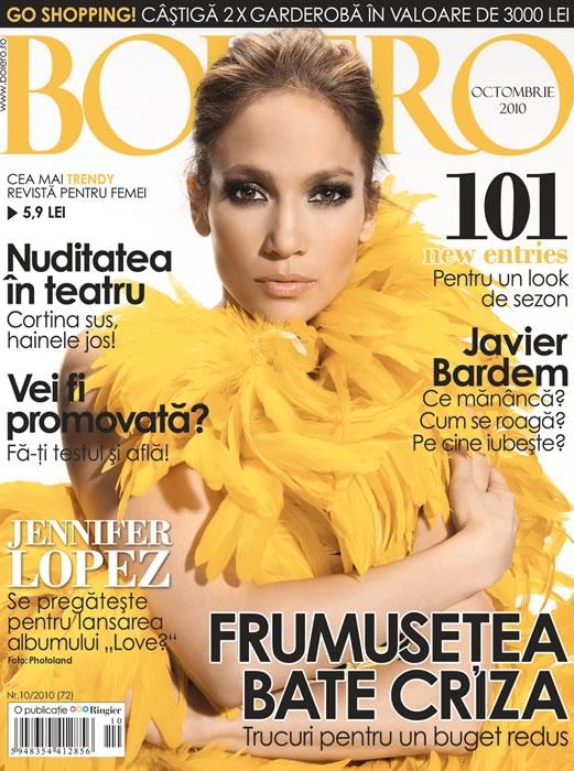 Bolero ~~ Cover girl: Jennifer Lopez ~~ Octombrie 2010