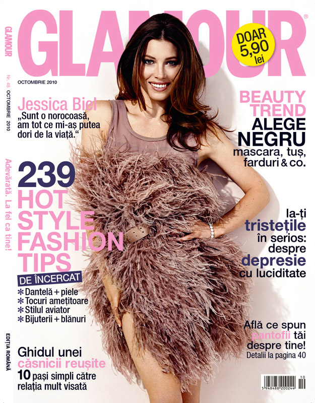 Glamour Romania ~~ Cover girl: Jessica Biel ~~ Octombrie 2010
