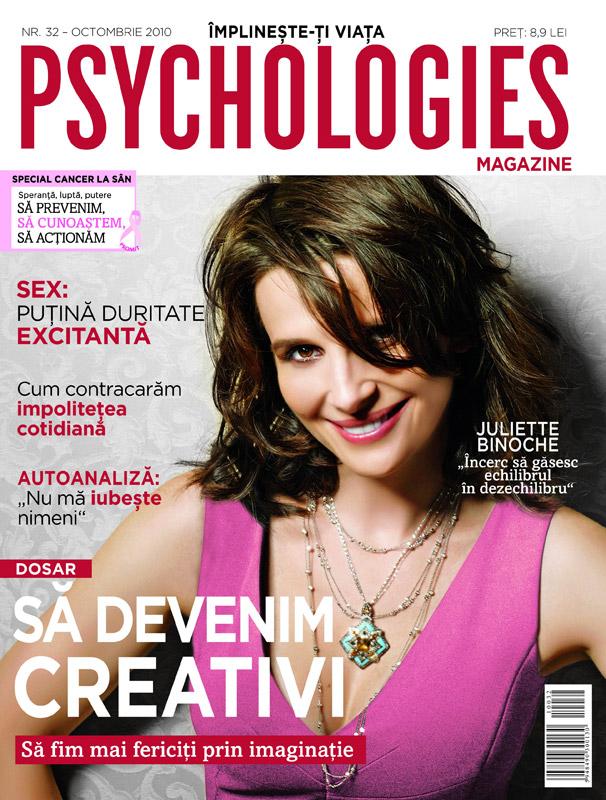 Psychologies ~~ Cover girl: Juliette Binoche ~~ Octombrie 2010