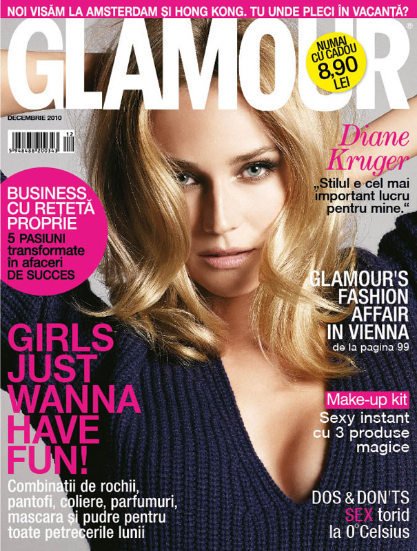 Glamour Romania ~~ Cover girl: Diane Kruger ~~ Decembrie 2010