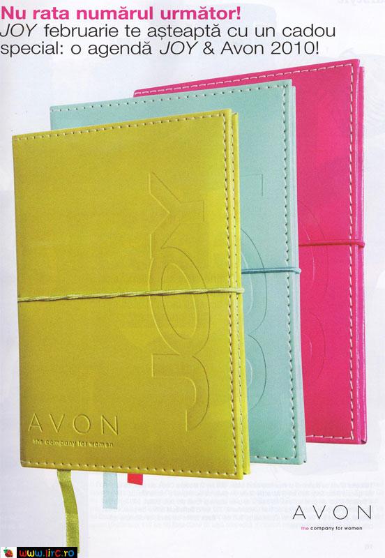 Agenda Joy & Avon, cadou la revista Joy, editia Februarie 2010
