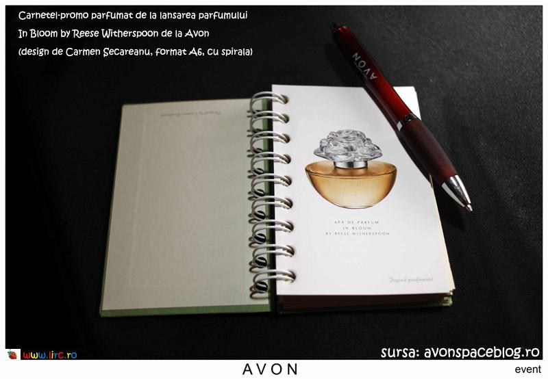 Carnetel-promo parfumat de la lansarea parfumului In Bloom by Reese Witherspoon de la Avon
