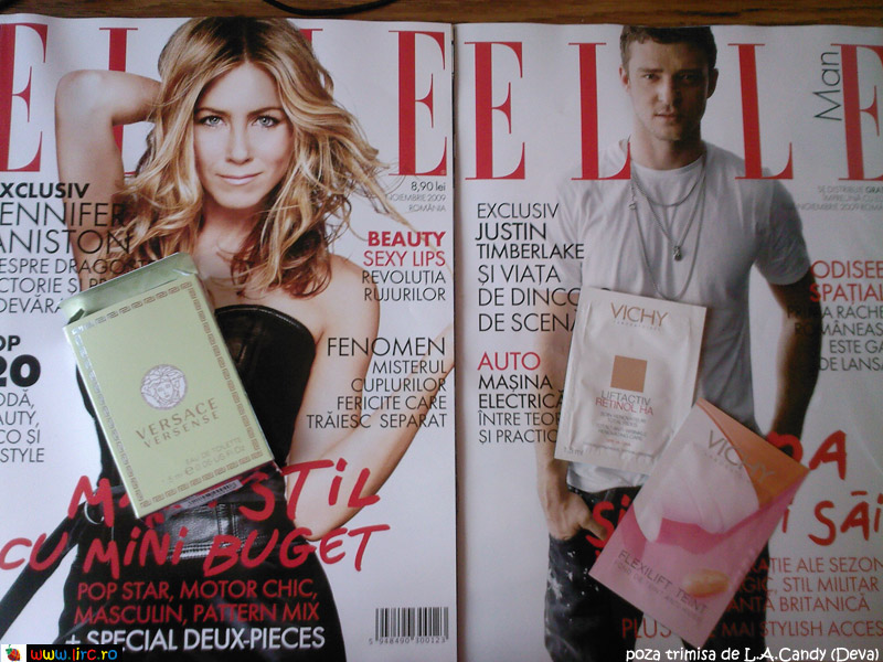 Elle Romania ~~ Cover girl Jennifer Aniston ~~ Noiembrie 2009; Elle Man ~~ Cover man Justin Timberlake ~~ Noiembrie 2009