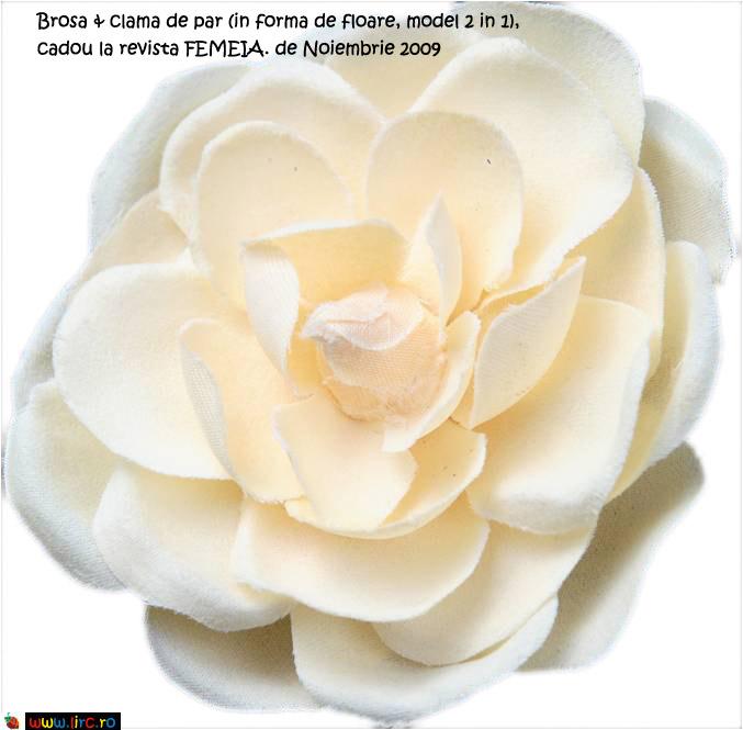 Brosa & clama de par (in forma de floare, model 2 in 1), cadou la revista FEMEIA. de Noiembrie 2009