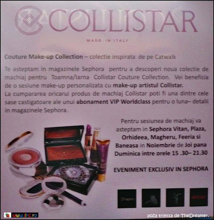 Brosura Collistar Italia Couture Collection ~~ Noiembrie 2009