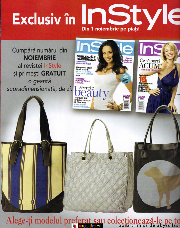 InStyle Romania ~~ Promo cadou geanta supradimensionata de zi, 3 modele ~~ Noiembrie 2009
