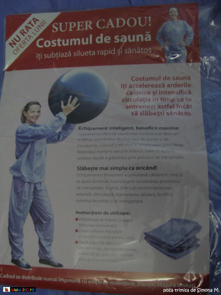 Informatii despre costumul pentru sport cu efect de sauna, cadou la revista Prevention de Noiembrie 2009