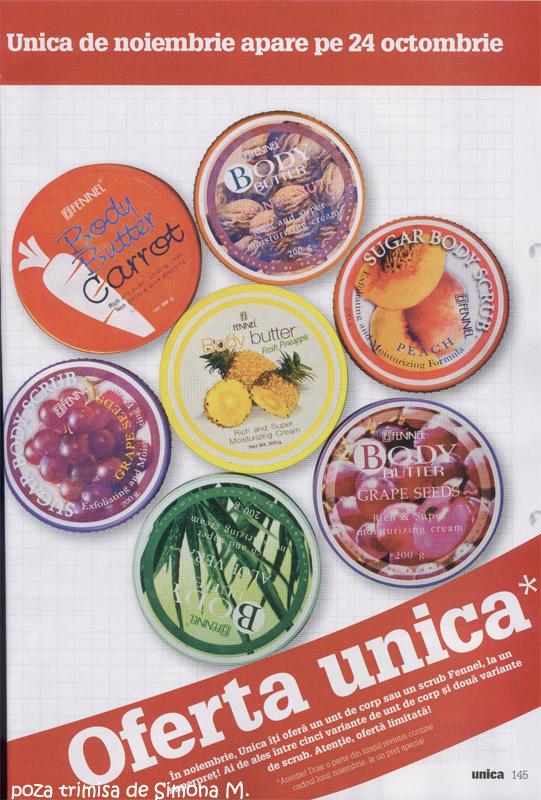 Unica ~~ Promo cadouri Fennel: unt sau scrub pentru corp ~~ Noiembrie 2009