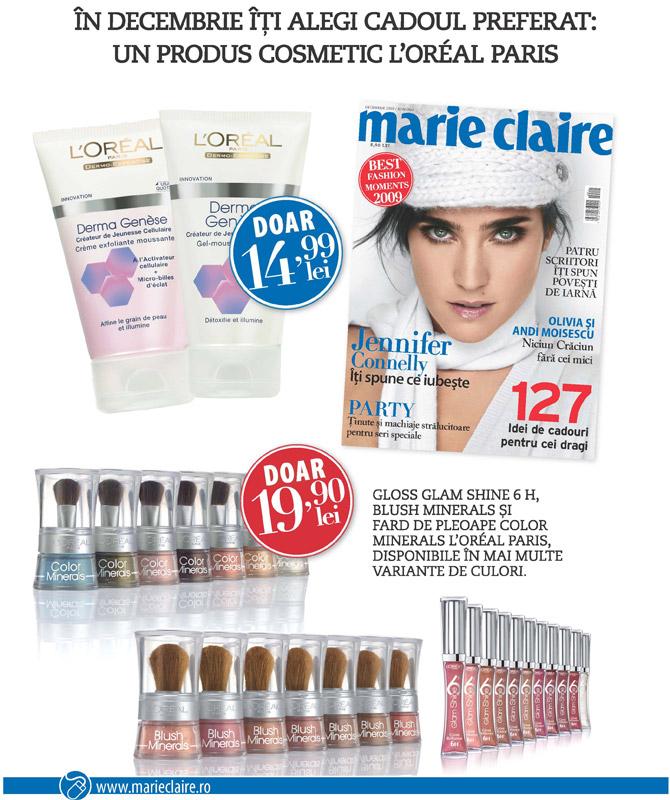 Marie Claire Romania ~~ Promo cadouri produse de make-up si ingrijire L´Oreal Paris ~~ Decembrie 2009