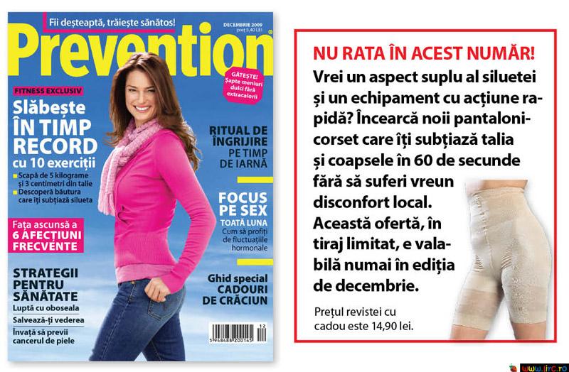 Prevention Romania ~~ Coperta si cadou: Pantaloni-corset pentru subtierea taliei si a coapselor ~~ Decembrie 2009
