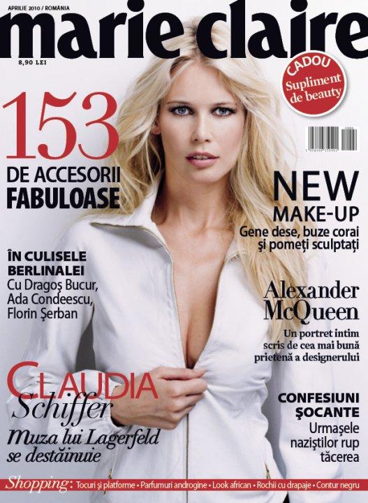 Marie Claire Romania ~~ Cover girl: Claudia Schiffer ~~ Aprilie 2010