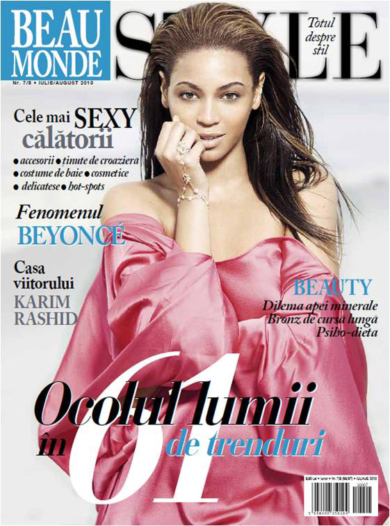 Beau Monde Style ~~ Cover girl: Beyonce ~~ Iulie - August 2010