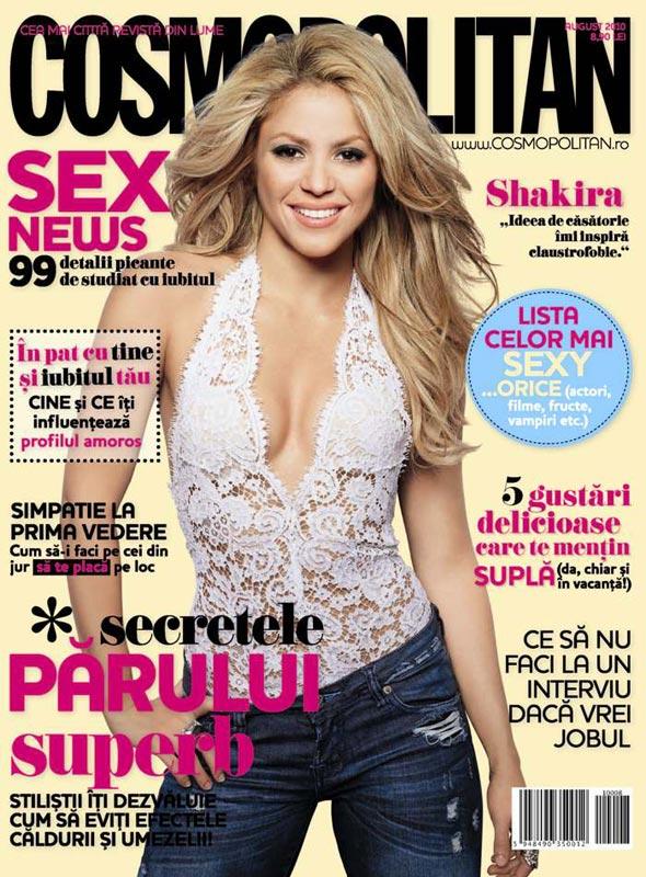 Cosmopolitan Romania ~~ Cover girl: Shakira ~~ August 2010