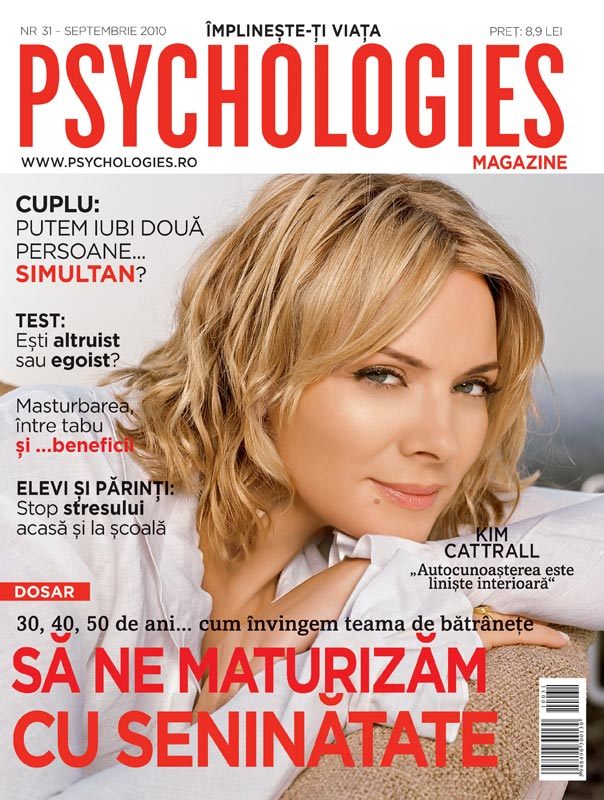 Psychologies Romania ~~ Cover girl: Kim Cattrall ~~ Septembrie 2010