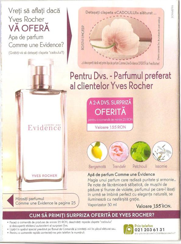Brosura Yves Rocher 3OYA4EP15 ~~ Prezentarea cadoului apa de parfum COMME UNE EVIDENCE  ~~  Noiembrie 2011