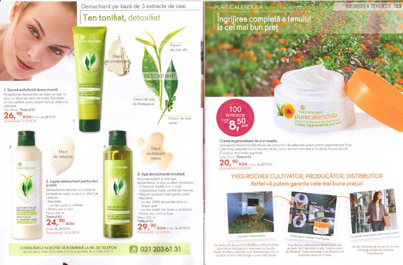 Brosura Yves Rocher: Naturalete, frumusete si Stralucire ~~ produse pentru ingrijirea tenului (paginile 2-3)