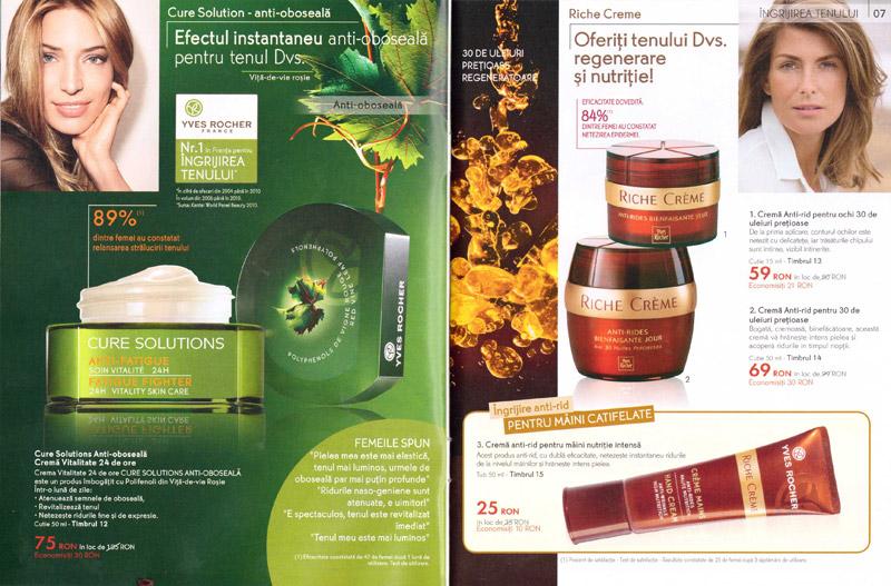 Brosura Yves Rocher: Naturalete, frumusete si Stralucire ~~ produse pentru ingrijirea tenului (paginile 6-7)