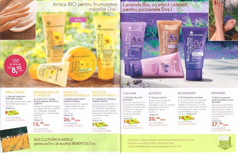 Brosura Yves Rocher: Naturalete, frumusete si Stralucire ~~ produse pentru ingrijirea mainilor si picioarelor (paginile 8-9)