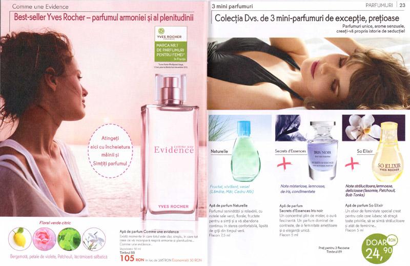 Brosura Yves Rocher: Naturalete, frumusete si Stralucire ~~ parfumuri (paginile 22-23)