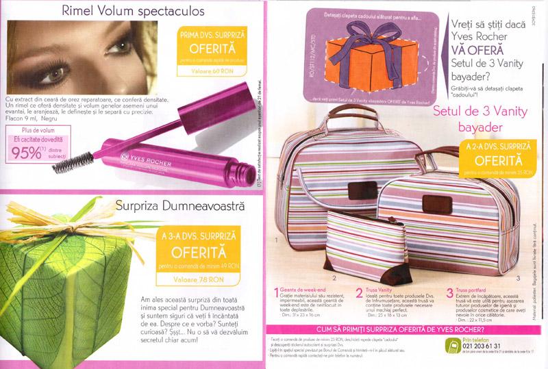 Brosura Yves Rocher: Naturalete, frumusete si Stralucire ~~ Prezentarea cadourilor oferite pentru prima comanda