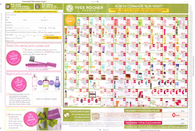 Brosura Yves Rocher France: Secrete de frumusete ~~ Bonul de comanda ~~ Toamna 2014