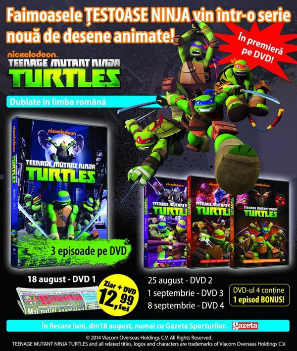 Colectia din 2014 de 4 DVD-uri Testoasele Ninja de la Gazeta Sporturilor