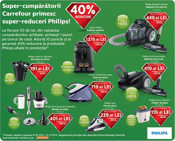 40% reducere la produse Philips cu puncte bonus Carrefour, 7 August - 1 Octombrie 2014