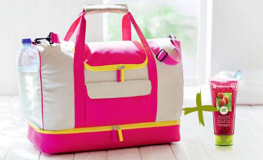 Geanta roz si galben pentru weekend, cadou Yves Rocher pentru luna Aprilie 2015