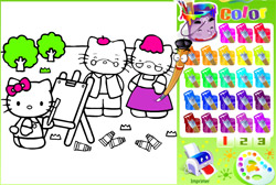 Coloreaza pisicuta roz Hello Kitty