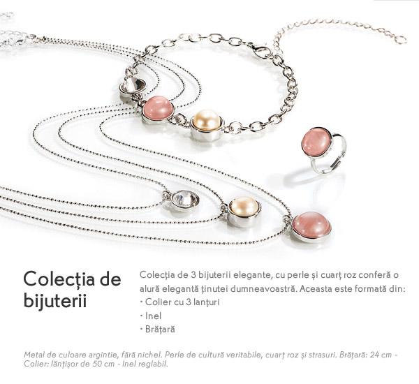 Colectia de 3 bijuterii elegante cu perle si cuart roz de la Yves Rocher, Mai 2015