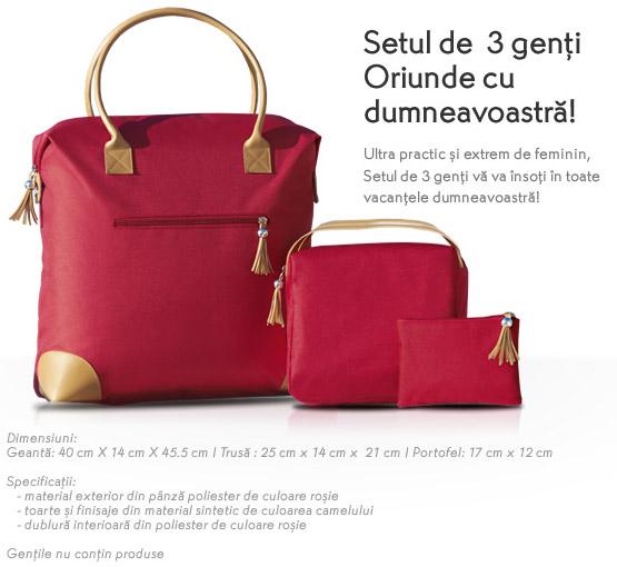 Yves Rocher: set de 3 genti rosii (geanta, trusa si portofel)