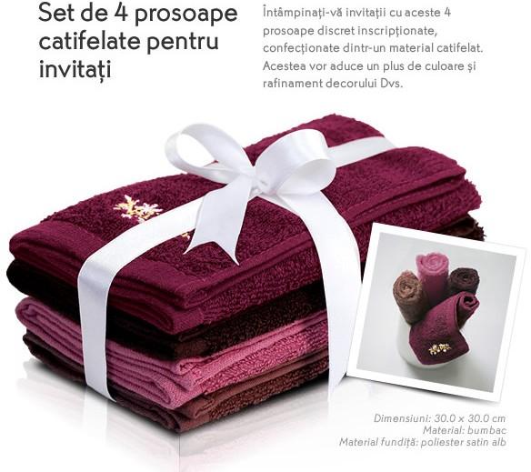 Set de 4 prosoape pentru musafiri (cadou Yves Rocher, August 2015)